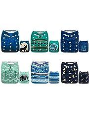 Alva Baby - Pañales de tela reutilizables (6 unidades), lavables, 6 unidades de pañales + 12 paños interiores Girl Color 6DM44 Talla:All in one