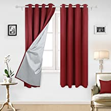 Deconovo Red Thermal Insulated Blackout Curtains with Silver Coating Blackout Panels for Kitchen 52W x 72L Inch Red 2 Panels