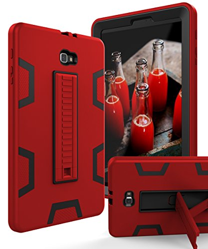 TIANLI Samsung Galaxy Tab A 10.1 Case Hard Kickstand Unique Veins Three Layer Heavy Duty High Impact Absorption Anti Scratch Fingerprint Resistant,Red Black (Samsung Galaxy Tab 3 10.1 Best Price)