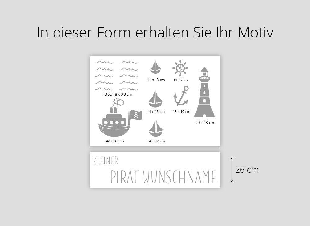 Gran Dora w5429 Pared Adhesivo pequeño Pirata Nombre Personalizado ...