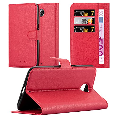 Cadorabo Book Case Works with Lenovo Google Nexus 6 / 6X in Candy Apple RED - with Magnetic Closure, Stand Function and Card Slot - Wallet Etui Cover Pouch PU Leather Flip