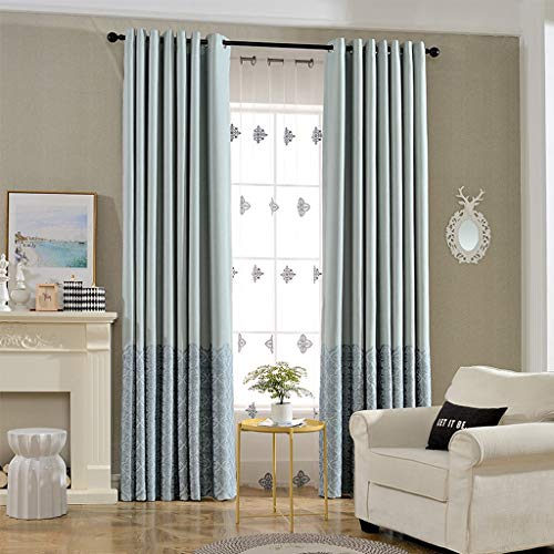 Green Fresh Countryside Embroidered Curtain Fabric Thick Cotton and Linen Double-Sided Blackout Linen Solid Color Bedroom Living Room Floor to Ceiling Windows, Dimensions(Height Width): 2.5X2M, 2.5X2 ()
