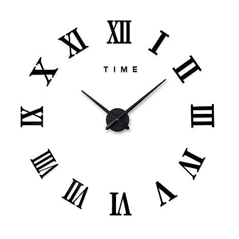 DIY Reloj de Pared 3D sin Marco silencioso Arte Modernas acrílico Espejo Adhesivo de Pared Reloj