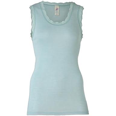 bekannte Marke Geschicktes Design zu verkaufen Damen Achselshirt mit Spitzenabschluss, Wolle Seide, Gr. 34-48