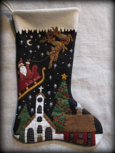 Christmas Stocking KIT Wool Felt Applique | Santa's Coming to Town by Cheswick Company