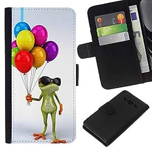 Planetar® Modelo colorido cuero carpeta tirón caso cubierta piel Holster Funda protección Para Samsung Galaxy A3 / SM-A300 ( Birthday Kids Frog White )