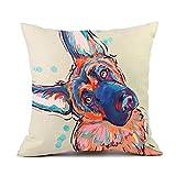 Redland Art Cute Pet German Shepherd Dog Throw Pillow Covers Cotton Linen Sofa Decorative Cushion Cases for Home Decor 18×18 Inch