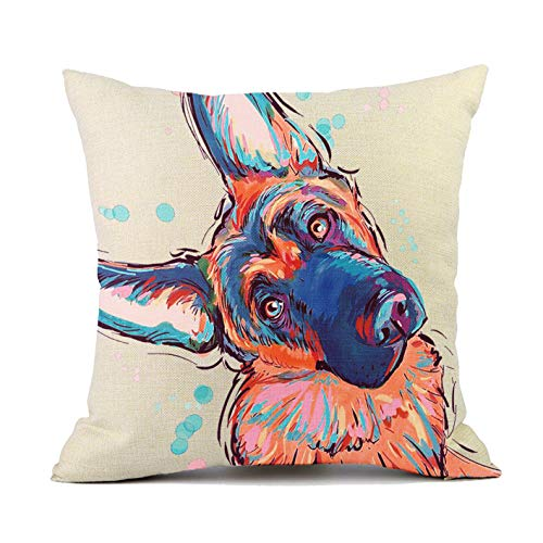 (Redland Art Cute Pet German Shepherd Dog Throw Pillow Covers Cotton Linen Sofa Decorative Cushion Cases for Home Decor 18×18)