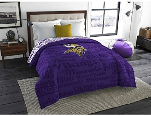 1pc NFL Minnesota Vikings Comforter Full, Sports Patterned Bedding, Fan Merchandise, Unisex, Yellow, Purple, Team Spirit, Football Themed, National Football League, Team Logo