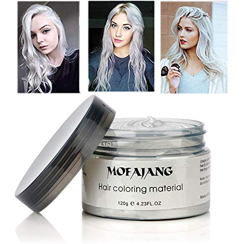 MOFAJANG Hair Coloring Dye Wax, White Instant Hair Wax, Temporary Hairstyle Cream 4.23 oz, Hair Pomades, Natural Hairstyle Wax for Men and Women Party Cosplay