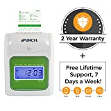 uPunch Time Clock Bundle with 100 Cards, 2 Ribbons, 2 Time Card Racks, & 6 Keys