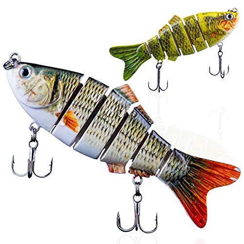 Swimbaits Lures for Bass with Multi-Jointed,Minnow Hard Bait Fishing Lures, Largemouth Bass Lures Pack of 2 (White) (Best Topwater Lures Largemouth Bass)