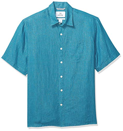 28 Palms Men's Relaxed-Fit Short-Sleeve 100% Linen Shirt, Teal, - Mens Linen Plain Shirt