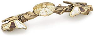 Schaub Heirloom Treasures Collection Penshell/Mother of Pearl Inlaid 5 in. (127mm) Pull, Antique Brass - 954P-AB