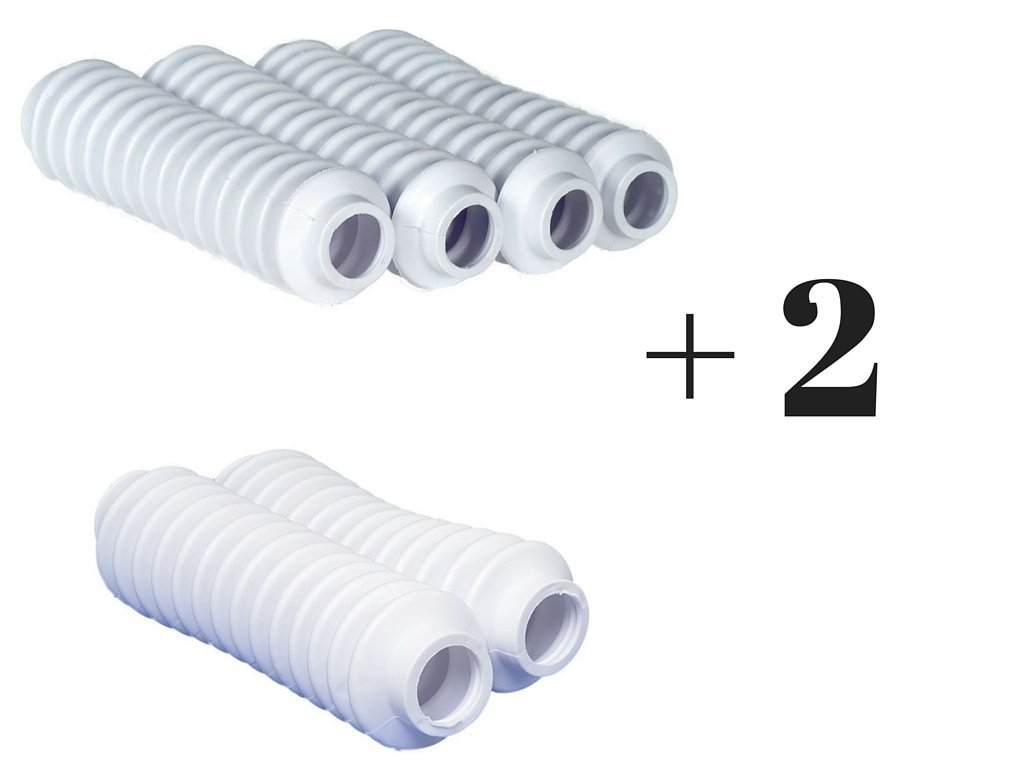 6 WHITE Shock Boots for Jeep Cherokee XJ and Other Jeeps and Universal Off Road Vehicles - Fits Most Shocks
