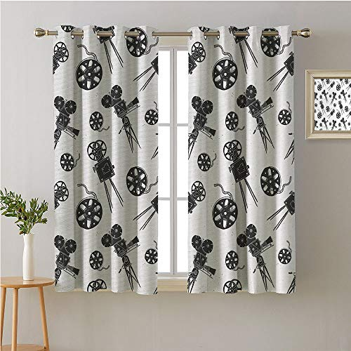 Jinguizi Film Fabric The Yard Grommets Drapes/Draperies,Vintage Movie Equipment with Greyscale Color Palette Old School Doodle Style Camera,Fashion Darkening Curtains,96W x 72L