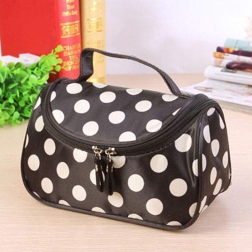 (Ladies Large Travel Organizer Toiletry Cosmetic Make Up Holder Case Bag Pouch (Color - White Dots))