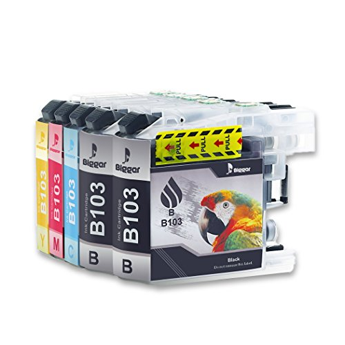 Bigger Brother LC103 Compatible Ink Cartridges Replacement High Yield (5Pack - 2Black, Cyan, Magenta, Yellow) Brother MFC-J245 J285DW J450DW J470DW J475DW J650DW J870DW J4310DW J6520DW Ink Printer ()