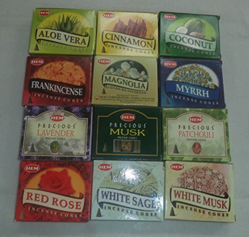 12 Assorted Boxes of HEM Incense Cones, Set 12 X 10 (120 total)