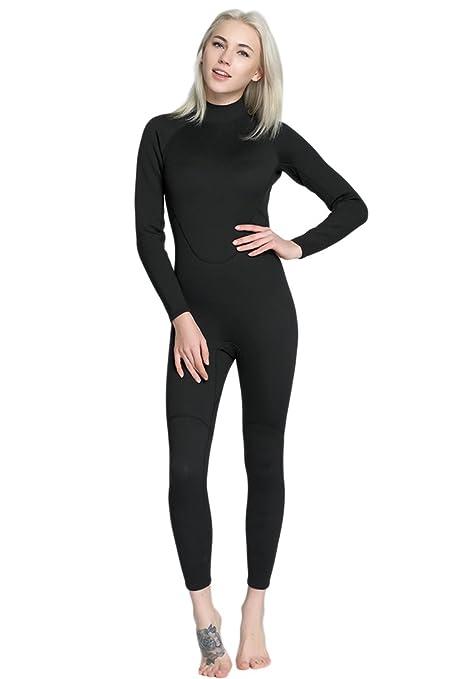 Micosuza Womens Full Wetsuits Premium 2mm Neoprene Long Sleeve Long Leg  Back Zip for Diving Snorkeling 4cf3cd293