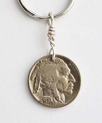 Buffalo Nickel Keychain, U.S. Coin Key Ring, 1936