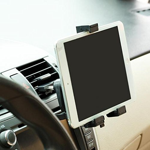 (Car Mount Air Vent Tablet Holder Rotating Cradle Swivel Dock Stand Black for iPad 4, Air, 2, Mini, 2, 3, 4, Pro 9.7 - LG G Pad 10.1 7.0 8.0 8.3 F 8.0 - Verizon Ellipsis 7, 8)