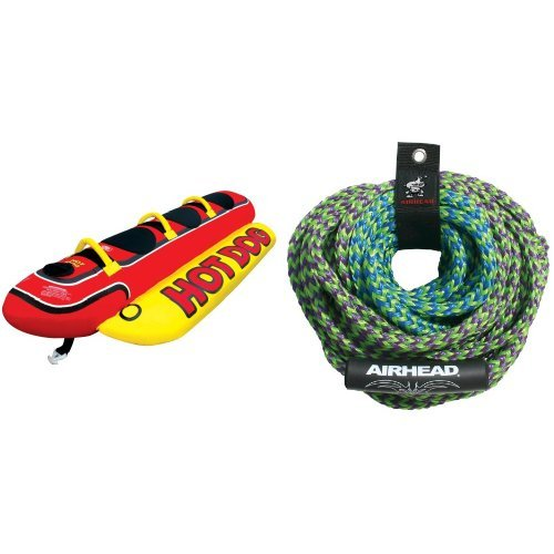 AIRHEAD HD-3 Hot Dog Towable and AIRHEAD AHTR-42 4 Rider Tube Rope (Double Dog Towable)