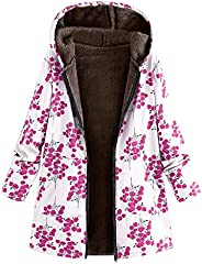 Amzeca Womens Winter Outwear Floral Print Hooded Pockets Vintage Oversize Coats