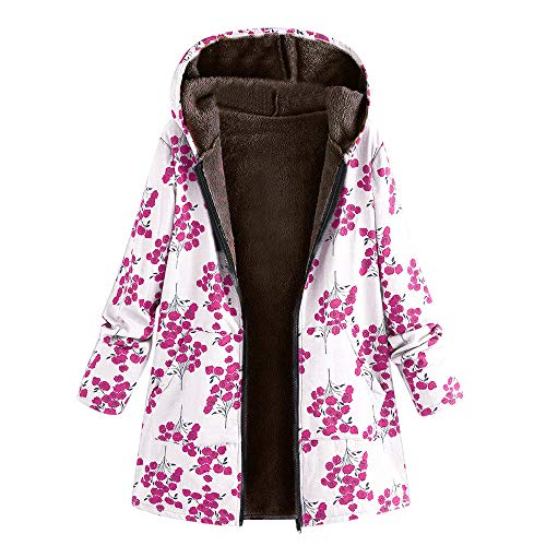 CUCUHAM Womens Winter Warm Outwear Floral Print Hooded Pockets Vintage Oversize Coats (White ,2X-Large)