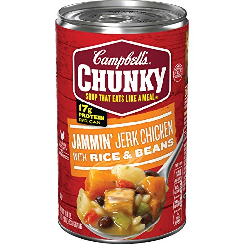 Campbell's Chunky Soup, Jammin' Jerk Chicken with Rice & Beans, 18.8 Ounce (Packaging May Vary) Chunky Chicken Soup