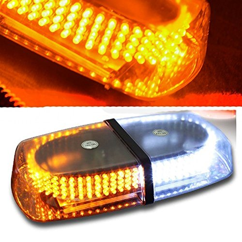 Jackey Awesome 240-LED Snow Plow Safety Strobe Light Warning Emergency 7-Patterns Car Truck Construction Car Vehicle Safety W/ Magnetic Base (Amber & White)