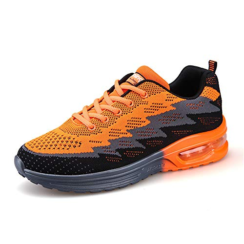excellent c Flat Sneakers Men's Lightweight Orange Shoes Shoes Walking 05 ZZxRrw