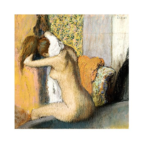 - After The Bath, Woman Drying her Neck by Edgar Degas Art Print, 18 x 18 inches