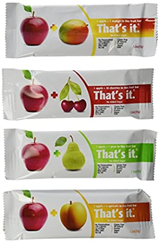 That's It Natural Fruit Bars Variety Pack, Apple+Mango, Apple+Pear, Apple+Cherry & Apple+Apricot, 12 - Bar Apricot