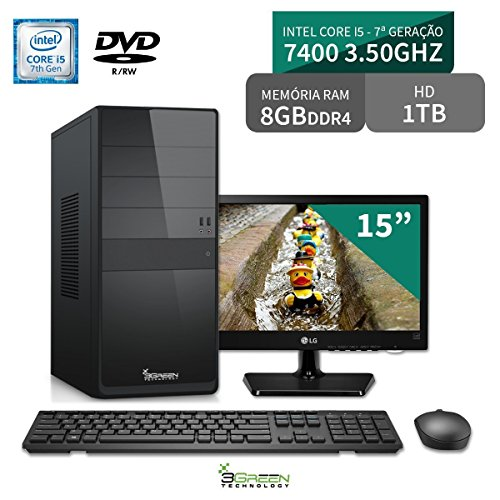 Computador 3green Select Intel Core I5 7400 8GB 1TB Dvd Monitor 15 LG 16M38A