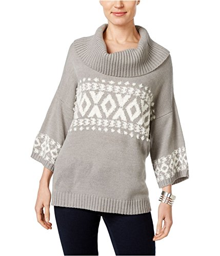Style & Co. Womens Cowl-Neck 3/4 Sleeve Pullover Sweater Gray L - 3/4 Sleeve Cowl Neck Sweater
