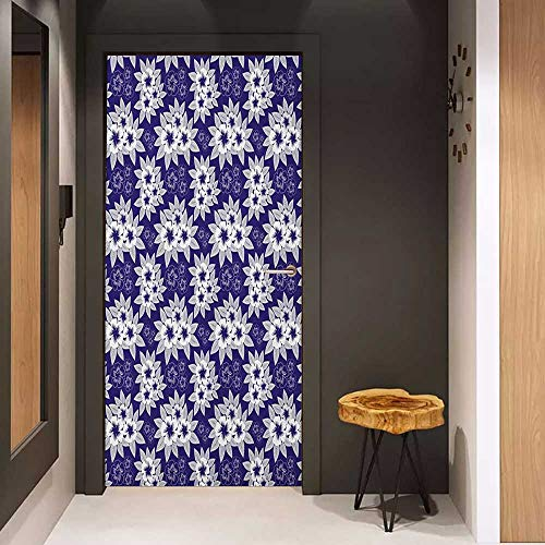 Onefzc Wood Door Sticker Navy Blue Floral Authentic Patterns with Alternate Simplistic Features Nature Illustration Easy-to-Clean, Durable W23 x H70 Navy White