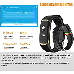 New High Accuracy Fitness Watch, Pard PPG + PWTT + HRV Health Tracker, Blood Oxygen SpO2 Sleep Monitor Wristband, Gold