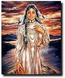 Indian Maiden Sunset Native American Wall Decor Art Print Poster (16x20)