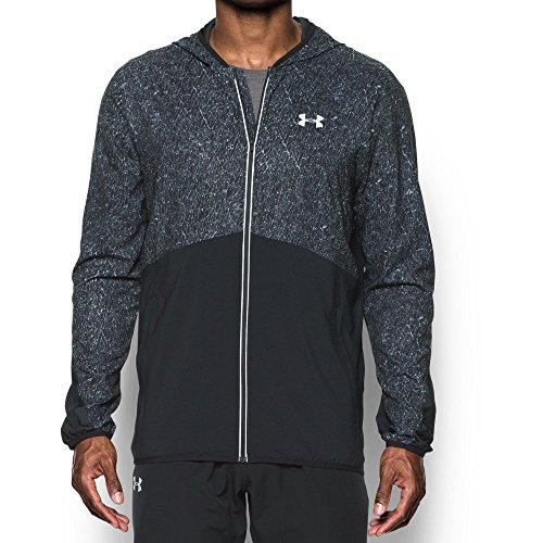 Under Armour Men's Run True Printed Jacket,Black (001)/Reflective, Small by Under Armour (Image #1)