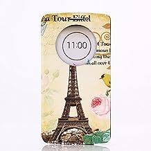 LG G3 Case, GOODTONY [Quick Circle Window] [Slim Fit] Premium [Cartoon Cute Printing] PU Leather Ultra Slim Flip Smart Cover for LG G3 (smile face) (Eiffel Tower)