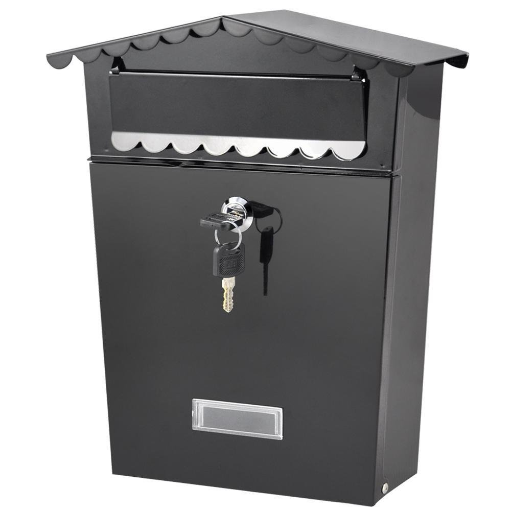 go2buy Wall Mount Mail Box w/ Outward Door,Lockable with 2 keys included Black 12 x 10 x 2.6''