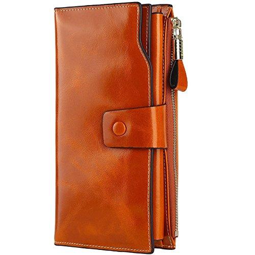 Brown Clutch Wallet - GDTK Women's Large Capacity Luxury Wax Genuine Leather Purse Clutch Wallet (Brown Tan)