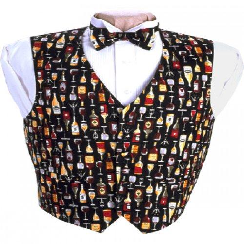 (Wine Bottles Tuxedo Vest and Bow Tie Size Medium)