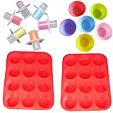 14 Piece Cake Bakeware Mold Set with Silicone Muffin Pan, Reusable Silicone Cupcake Baking Cups and Cupcake Plunger Cutter #3037