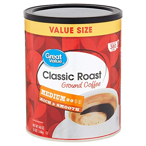 PACK OF 5 - Great Value Classic Medium Roast Ground Coffee, 48 oz