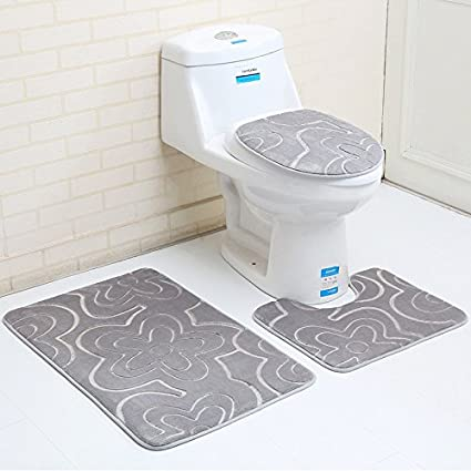 Amazon Com 3pcs Bathroom Mat Sets Microfiber Geometric Modern Anti