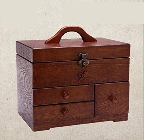 GFYWZ Pure handmade woody retro multifunctional storage box home needle and thread finishing box wedding dowry , 30cm20.5cm29cm by GFYWZ