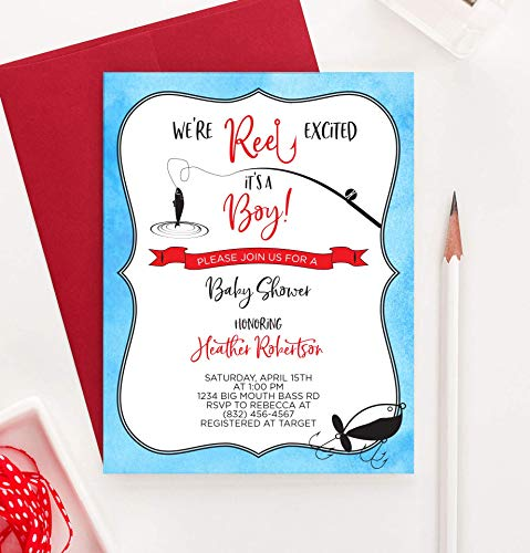 Fishing Baby Shower Invitations (Fishing Baby Shower Invitations, Personalized Baby Shower Invitations Boy, Your choice of Quantity and Envelope)
