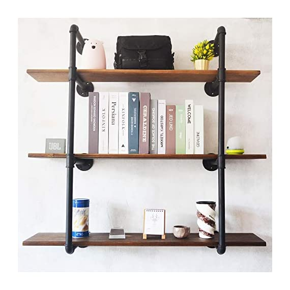 Puncia 48in Pipe Solid Wood Heavy Duty Kitchen Book Wall Floating Shelves, Long Wall Wooden Kitchen Bookcase Shelf, Farmhouse Decor Display Shelf (48in8in0.8in3Tiers) - ★ Super Practical:Our 3 Tiers Long and Cool Looking Industrial Pipe Storage Shelves, Adds an Vintage Style and More Vertical Storage to Your Kitchen ,Living Room, Bedroom or Office Space.This Floating Wooden Pipe Wall Shelves is Suitable for Store Books, Decorations, Potting and Any Other Small Items, It Ban Saving Much More Your Room Space . ★ Super Long : Pine Board Size: 48'L x 8''W x 0.8''H. Item Display Size 48''L x 37''W x 10''D. Height Between Shelves: 12-Inch Without Adjustable. Pipe Size:⌀1in .You Can Store More Item On This Shelf.We take much more new room space .You will have more space to take your book,metal ,toys,model and others. ★ Nature & Health:The Planks Made of Pine Boards, Each Board With Different Tree Texture ,You Will closer nature.We use health Paint for board and you won't have bad smell in your room. - wall-shelves, living-room-furniture, living-room - 51I 4UiLtIL. SS570  -